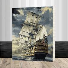 large sailing boat painting frame diy oil painting by numbers kit paint on canvas home wall