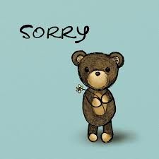 sorry bear teddy toy cute apology cartoon card
