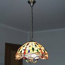 stained glass hanging light chandelier lighting lampe vintage living room dragonfly pattern lamp shade