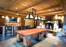 rustic home billiard room design with pool table and bronze lighting mini bar area rugs m rug under pool table