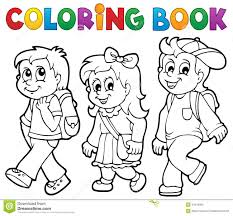 Coloring Book School Kids Theme 2 Stock Vector Illustration Of