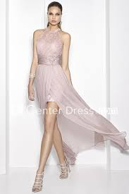 Prom Dress Color Chart Floor Length High Neck Lace Sleeveless Chiffon Satin Prom Dress With Broach