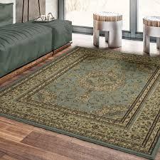 royal collection new oriental sage green medallion design area rug