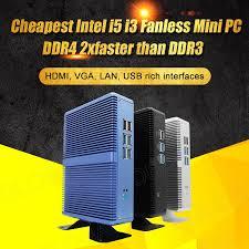 Eglobal Giá Rẻ Quạt Không Cánh Mini PC Windows 10 Pro Intel Core I7 I5  7200U I3 7100U Barebone Máy Tính DDR4/DDR3 2.4GHz 4K HTPC Wifi|PC mini