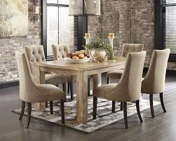 table and chairs. Mestler Bisque Rectangular Dining Room Table \u0026 6 Light Brown UPH Side Chairs And