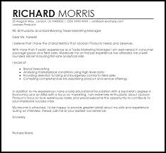 Trade Marketing Manager Cover Letter Sample Cover Letter Templates