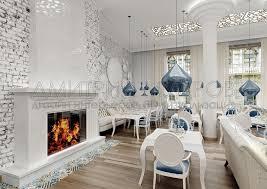 Дизайн проект ресторана prosecco МШД 3d визуализация большого зала ресторана вид на камин