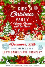 Christmas Birthday Party Invitations Kids Christmas Party Invitation Poster Template Stock Vector