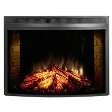 muskoka 33 curved glass front electric heater fireplace insert mfb33c firebox