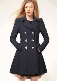 navy blue plain double ted trench coat
