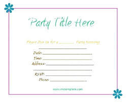 Birthday Invitation Templates Word Birthday Party Invitation