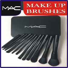 details of m a c makeup brush set 12 pcs set in steel box
