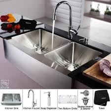 kraus khf203 36 kpf1622 ksd30ch 36 inch farmhouse double bowl stainless steel kitchen sink with chrome faucet and soap dispenser