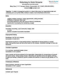 Outstanding Mom Going Back To Work Resume 37 For Easy Resume Builder with Mom  Going Back To Work Resume