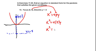 precalculus chapter 8 1 exercises 11 20 find equation of parabola from vertex focus focal width