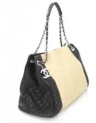 Chanel Beige & Black Quilted Leather Tote Bag SHW w/AUTHCARD & Chanel Beige & Black Quilted Leather Tote Adamdwight.com