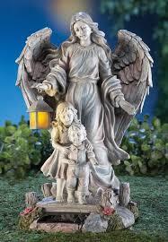 solar guardian angel children figurine