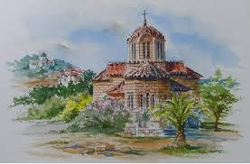 watercolor painting of hagia apostoli of solaris church athens greece