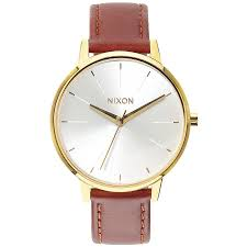nixon kensington leather watch women s gold saddle