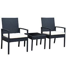 patio furniture for small spaces. tangkula 3 pcs outdoor rattan patio furniture set backyard garden seat cushioned for small spaces