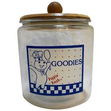 pillsbury goos glass cookie jar wood lid advertising vintage