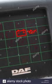 Daf Dashboard Warning Lights Ignition Lights On The Dash Board Of A Daf Bus Stock Photo