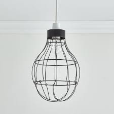 wilko black open wire pendant light shade image 1