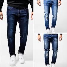 Designer Pants Mens Blue Slim Fit Ripped Denim Jeans Designer Pants Det Stone Wash Ebay