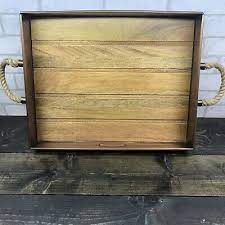 smith and hawken copper wood tray 18