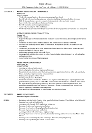 Resume For Video Production Video Production Intern Resume Samples Velvet Jobs 7