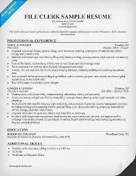 File Clerk Sample Resume Best Of File Clerk Resume No Experience Dadajius