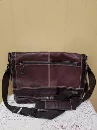 black rivet distressed leather messenger bag w contrast stitching for