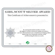 Girl Scout Cadette Printable Silver Award Certificate (Editable Pdf ...