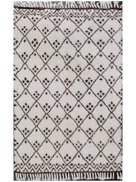 rugsville hind beni ourain ivory brown wool moroccan rug 19063 5 3x8