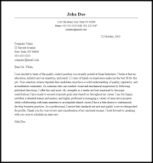 Professional Quality Control Cover Letter Sample Writing
