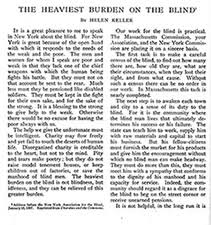 outlook for the blind american foundation for the blind a portion of helen keller s essay entitled the heaviest burden on the blind