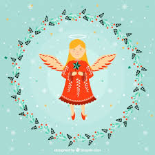 nice angel in a flower wreath frame free vector