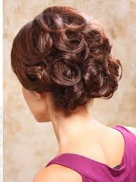 bouffant easy updo with swirled curls back view