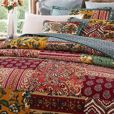 Burgundy Bedding Sets Cheap Sale – Ease Bedding with Style & DaDa Bedding Collection Reversible Bohemian Real Patchwork Cotton Dark  Elegance Floral Quilt Bedspread Set, Burgundy Adamdwight.com