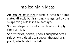 Locating the main idea Supporting details Implied main idea - ppt ...