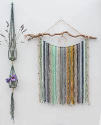 large macrame yarn wall hanging on driftwood mixed media hanging macrame yarn wall