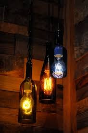 recycled glass wine bottle pendant lamp with edison lightbulb diy