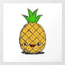 cute pineapple with sunglasses. cute pineapple art print with sunglasses i