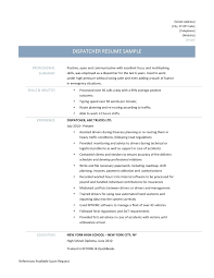 Dispatcher Resume Samples Resume Dispatcher Resume Examples