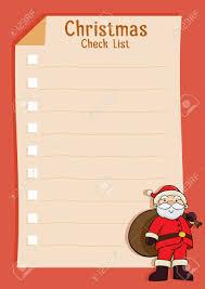 Blank Christmas List Santa Claus Blank Christmas Check List Vector Illustration