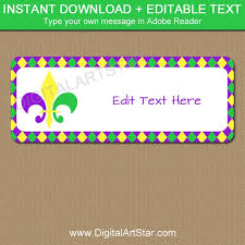 Address Label Templates Cool Mardi Gras Address Label Template INSTANT DOWNLOAD Return Etsy