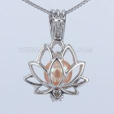 whole 925 sterling silver lotus pearl cage pendant necklace
