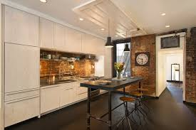 dc metro old brick home kitchen industrial with island bar stools l pendant lights full depth wall cabinets