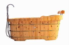 alfi brand ab1139 61 free standing cedar wooden bathtub with fixtures headrest
