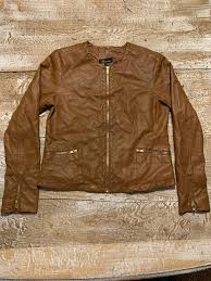 details about women s juniors brown baccini jacket size medium leather look
